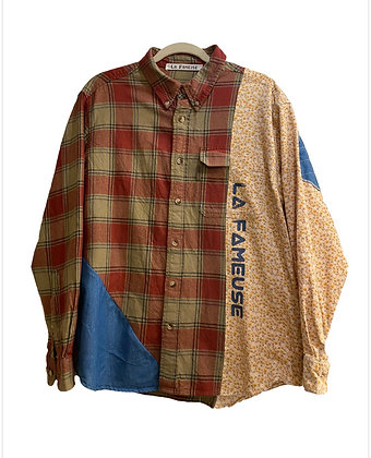 chemise mix carreaux et liberty