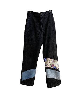 pantalon velours noir & happy bandes