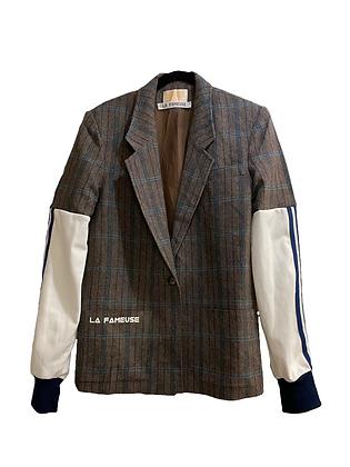 jacket laine carreaux mix Adidas