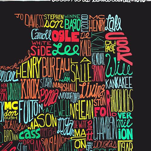 Counties of Illinois Art Print