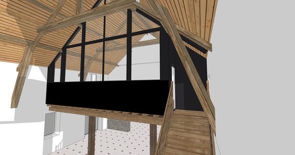TIPHAINE MODIN   Architecte et decoration d'interieur   Nantes   Verriere sous charpente cathedrale - Visualisation 3D