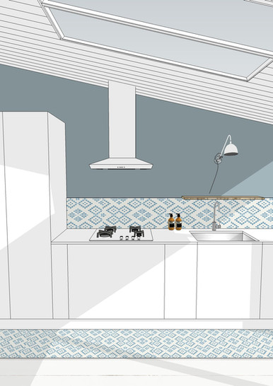 TIPHAINE MODIN | Architecte et decoration d'interieur | Nantes | Visualisation 3D | Cuisine blanche bois frêne olivier et carreaux de ciment