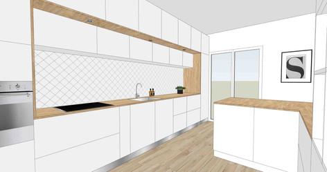TIPHAINE MODIN | Architecte et decoration d'interieur | Nantes | Esquisses - ouverture cuisine sur salon
