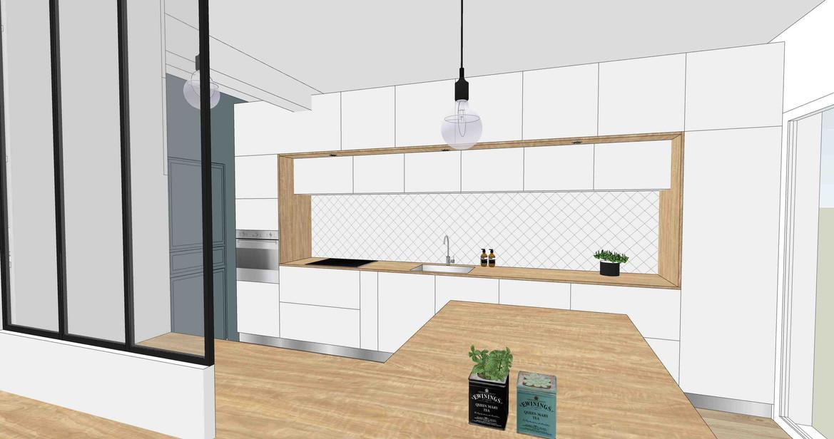 TIPHAINE MODIN   Architecte et decoration d'interieur   Nantes   Esquisses - ouverture cuisine sur salon