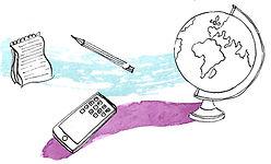 Journalist tools. Pencil, notebook, pen. Globe