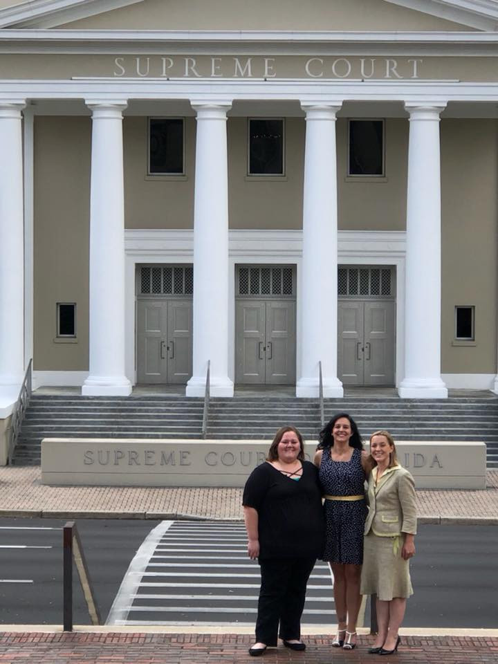 Savannah Parvu, Linsey Ruth & Lisa Haba in front of the Florida Supreme Court