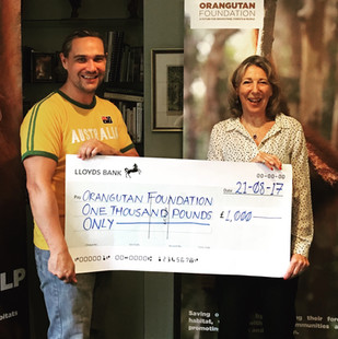 Donating £1k Raised From 'Crossing Over' Premiere to 'Organgutan Foundation.