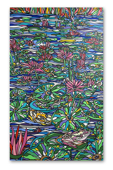 """""""Water Lily with Koi & Albino Frog"""" (Painting)"""