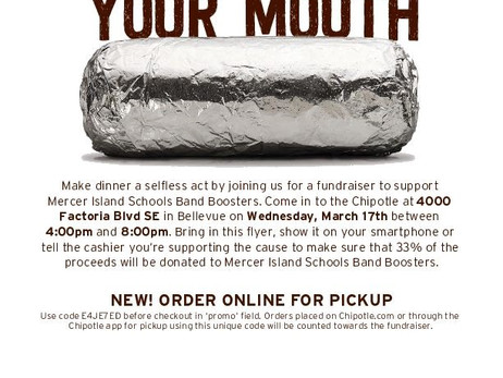 THANK YOU! Chipotle Fundraiser for Mercer Island Bands