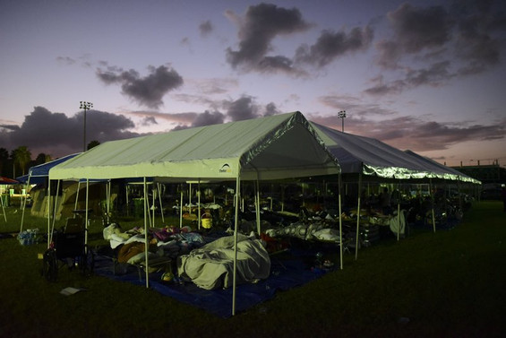 Makeshift shelters for local residents who can't return home