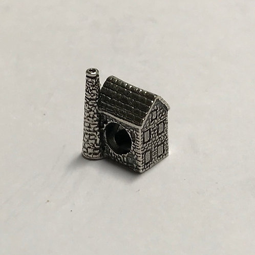 Cornish Tin Mine Engine House Bead - Silver