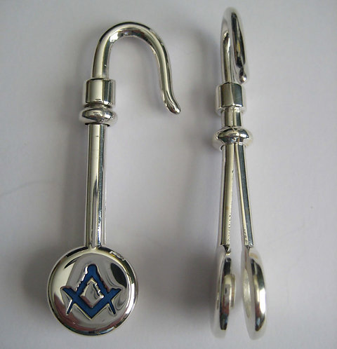 Napkin Hook - Sterling Silver - Masonic Compasses and Square.