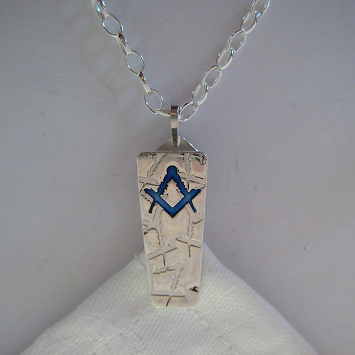 Napkin Hook Clip Pendant - Masonic Compasses and Square - Sterling Silver