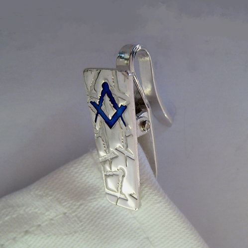 Napkin Hook Clip Hook - Masonic Compasses and Square - Sterling Silver