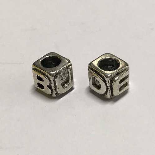 Bude Charm Bead - Square - Silver