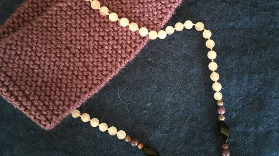 Hand knotted rose quartz necklace,with sunstone,onyx and Quartz