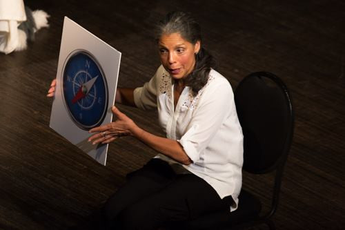 """And what is this?"" Diane Barnes holding compass in a production photo"