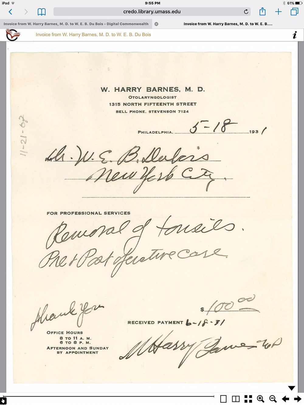 Annotated bill from W. Harry Barnes, M.D. to W.E.B. Dubois, PhD for tonsillectomy