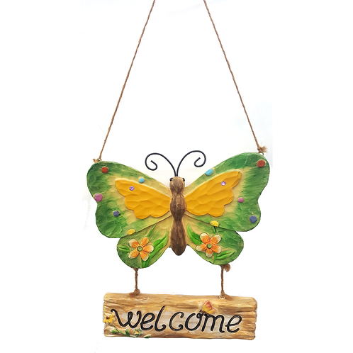 TRANSPAC IMPORT WALL DECOR BUTTERFLY WELCOME SIGN