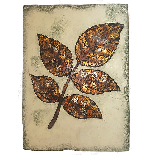 GIFTCRAFT WALL DECOR MEDIUM MOSAIC GOLD/YELLOW LEAF