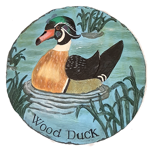GIFTCRAFT WOOD DUCK RESIN PLAQUE/STEP STONE