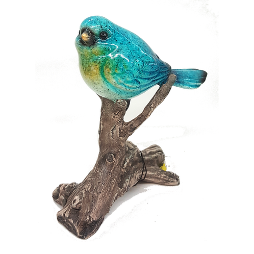 GIFTCRAFT GLASS BIRD ON BRANCH (BLUE)