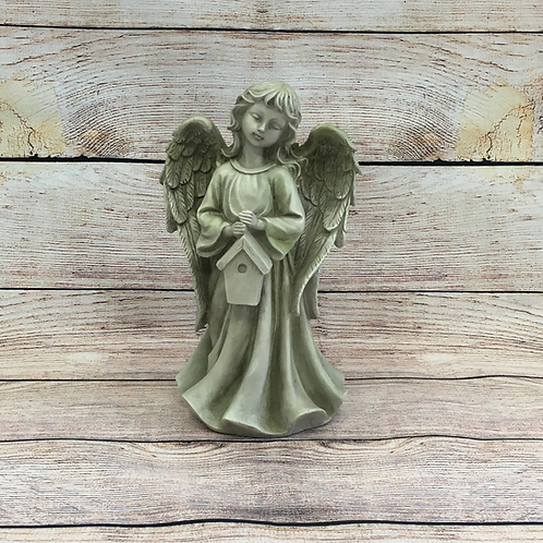ANGEL STANDING HOLDING BIRDHOUSE