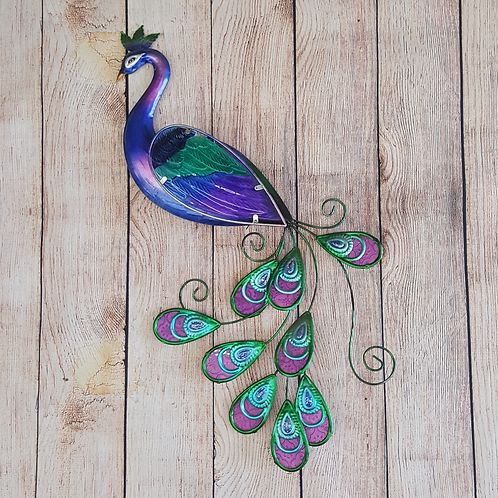 GIFTCRAFT WALL DECOR METAL PEACOCK W/ GLASS INLAY
