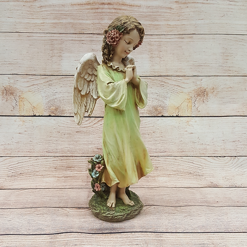 STANDING GIRL ANGEL WITH FLOWERS IN HAIR