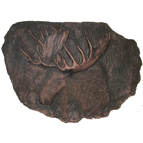 EARTHLY CREATIONS PLAQUE/ STEP STONE RUSTIC MOOSE