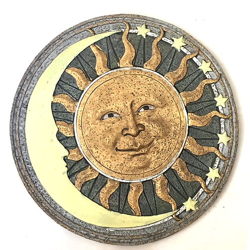 GIFTCRAFT PLAQUE/STEP STONE SUN FACE WITH MOON & STARS