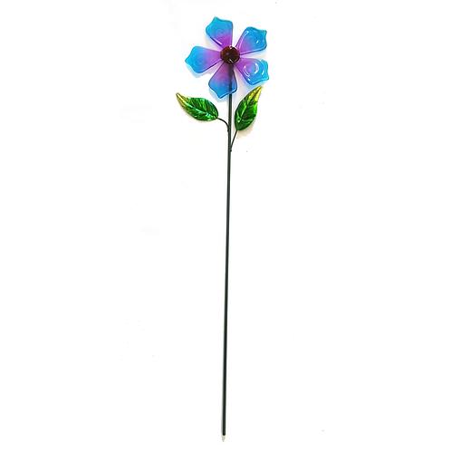 GLASS FLOWER STAKE (BLUE)