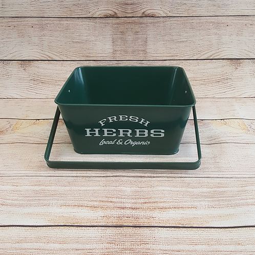 "SQUARE PLANTER ""FRESH HERBS LOCAL & ORGANIC"" (GREEN)"