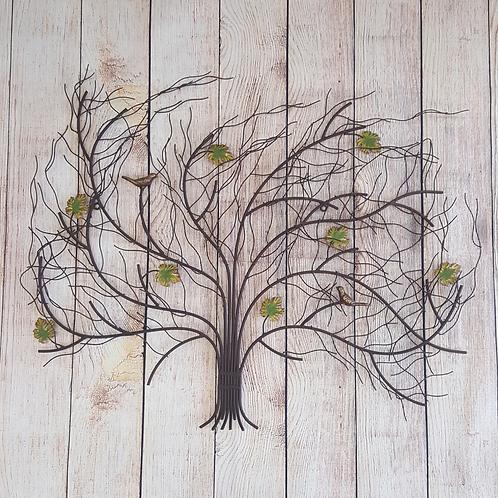 GARDMAN WALL DECOR METAL WINDSWEPT TREE W/ LEAVES & BIRDS