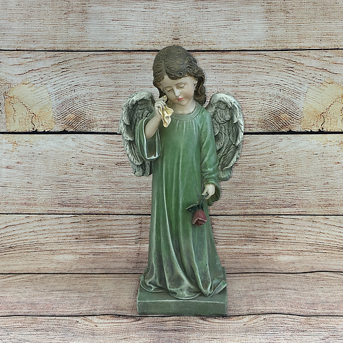 CRYING ANGEL WITH TISSUE & FLOWER
