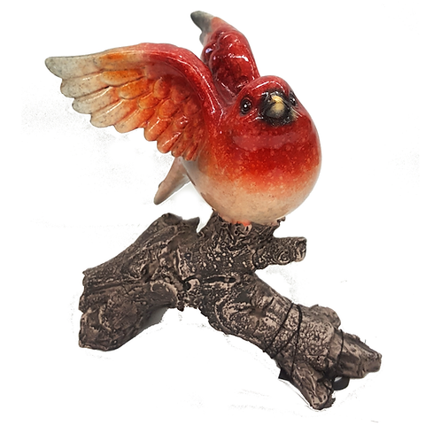 GIFTCRAFT GLASS BIRD ON BRANCH (RED)