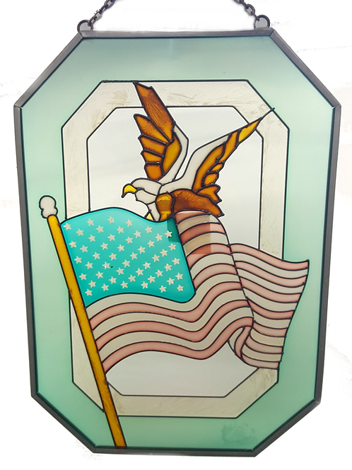 STAINED GLASS HANGER FLAG & EAGLE