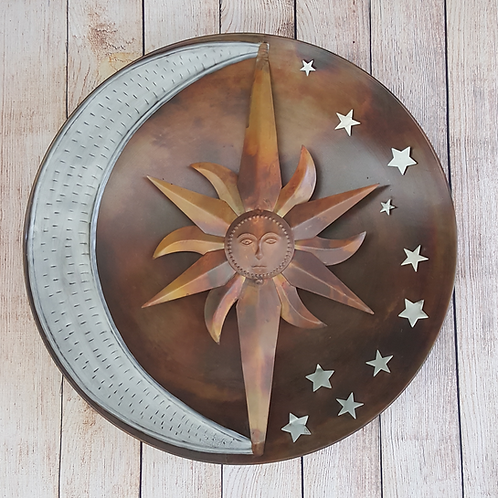 ANCIENT GRAFFITTI WALL DECOR METAL SUN & MOON W/ STARS