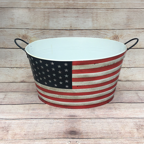 PLANTER WITH AMERICAN FLAG PRINT