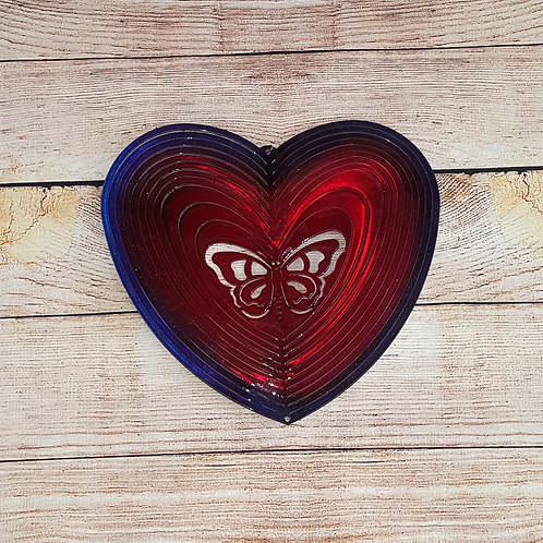 LARGE RED/BLUE HEART WITH BUTTERFLY CENTER