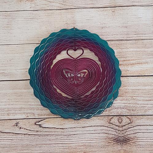 BLUE/PURPLE MULTI HEART WITH BUTTERFLY