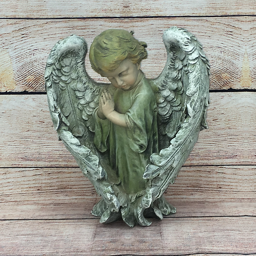 BOY ANGEL WITH LARGE WINGS PRAYING
