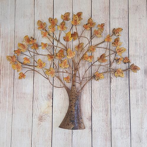 METAL TREE WITH LEAVES (ORANGE)
