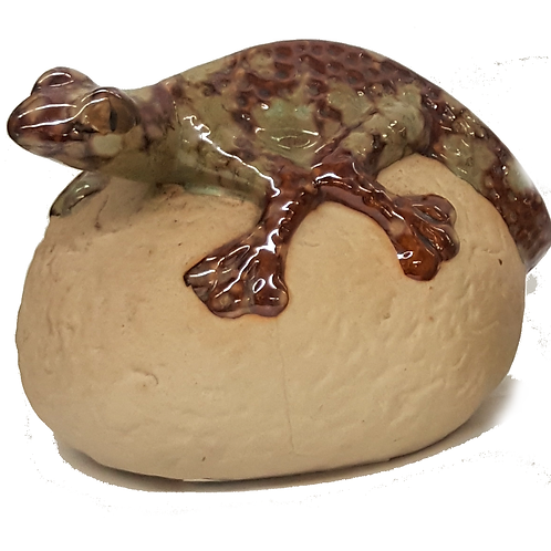 THE POTTING SHED GECKO ON ROCK (GOLD&GREEN)