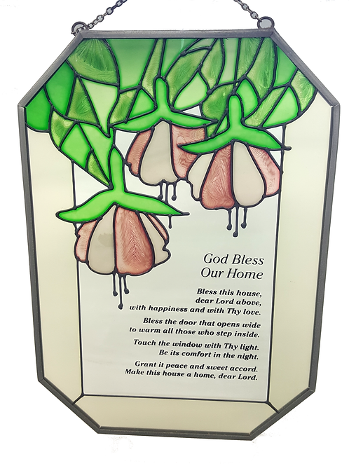 "STAINED GLASS HANGER ""GOD BLESS OUR HOME"""