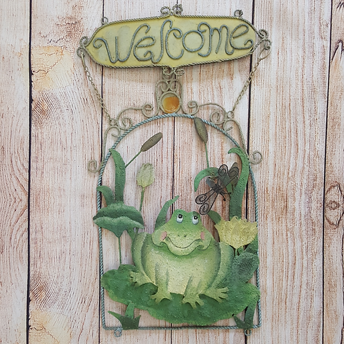"""METAL WALL DECOR WITH FROG """"WELCOME"""""""