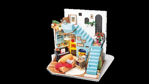 Miniature Dollhouse Kit with LED light - Joy's Peninsula Living Room