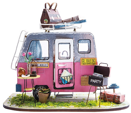 Miniature Dollhouse Kit with LED light - Happy Camper