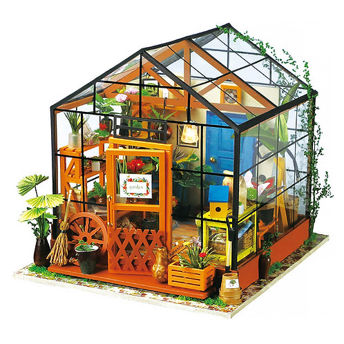 Miniature Dollhouse Kit with LED light - Cathy's Flower House