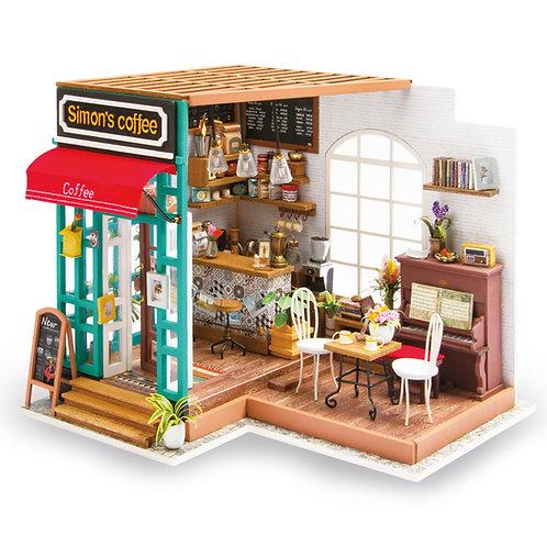 Miniature Dollhouse Kit with LED light - Simon's Coffee Shop
